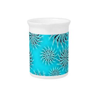 Spinning stars energetic pattern light blue beverage pitcher