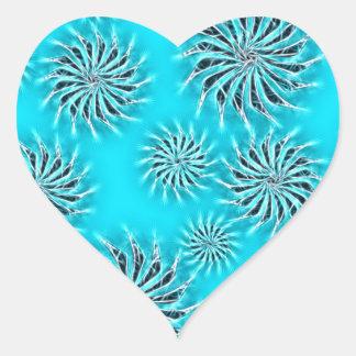 Spinning stars energetic pattern light blue heart sticker