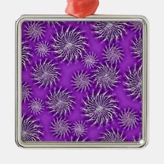 Spinning stars energetic pattern purple metal ornament