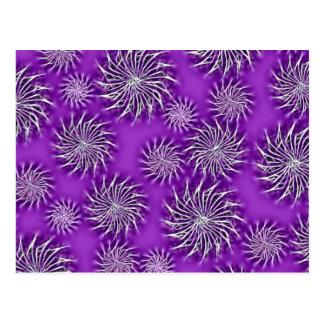 Spinning stars energetic pattern purple postcard