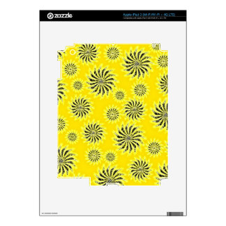 Spinning stars energetic pattern yellow decal for iPad 3