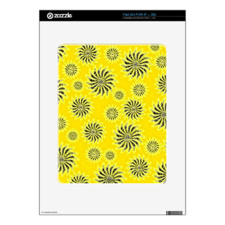 Spinning stars energetic pattern yellow decal for the iPad
