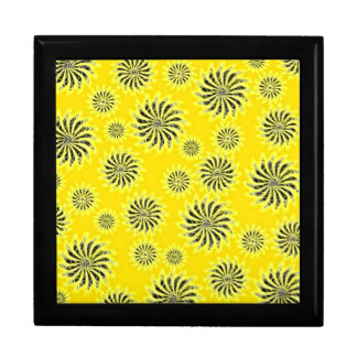 Spinning stars energetic pattern yellow gift box