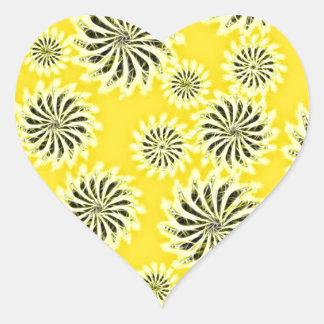 Spinning stars energetic pattern yellow heart sticker