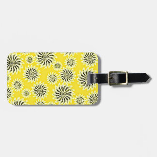 Spinning stars energetic pattern yellow luggage tag