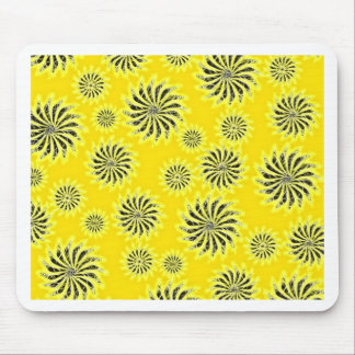 Spinning stars energetic pattern yellow mouse pad
