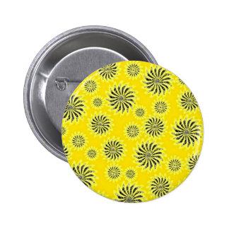 Spinning stars energetic pattern yellow pinback button