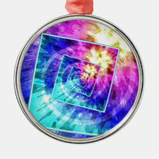 Spinning Tie Dye Abstract Metal Ornament