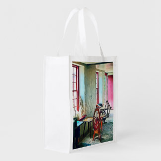 Spinning Wheel Near Window Reusable Grocery Bag