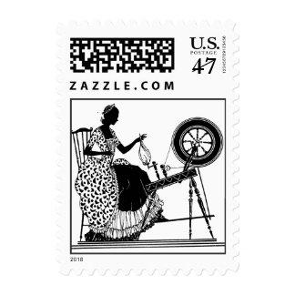 Spinning Wheel Silhouette Design Postage Stamp