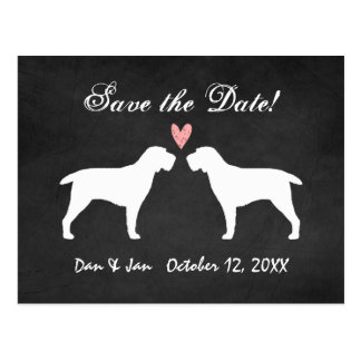 Spinone Italiano Silhouettes Wedding Save the Date Postcard