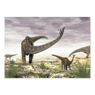 Spinophorosaurus dinosaurs herd in the desert card
