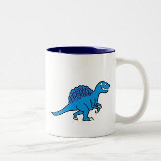 Spinosaurus azul taza de dos tonos