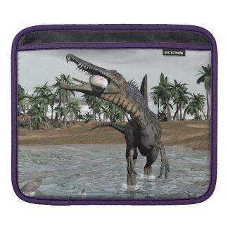Spinosaurus dinosaur eating fish - 3D render iPad Sleeve