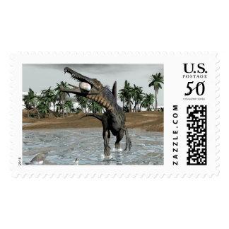 Spinosaurus dinosaur eating fish - 3D render Postage