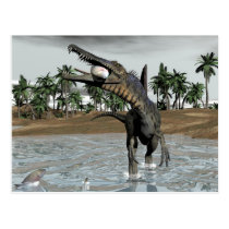 Spinosaurus dinosaur eating fish - 3D render Postcard