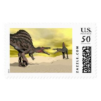 Spinosaurus dinosaur fighting - 3D render Postage