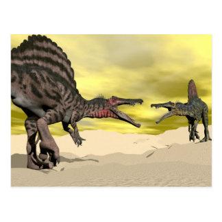 Spinosaurus dinosaur fighting - 3D render Postcard