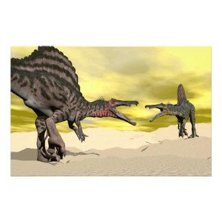 Spinosaurus dinosaur fighting - 3D render Stationery