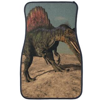 Spinosaurus dinosaur hunting a snake car floor mat