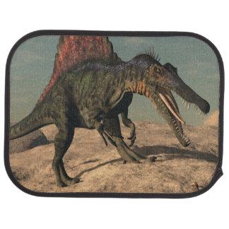 Spinosaurus dinosaur hunting a snake car mat