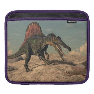 Spinosaurus dinosaur hunting a snake iPad sleeve