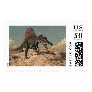 Spinosaurus dinosaur hunting a snake postage