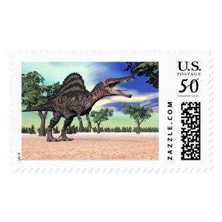 Spinosaurus dinosaur in the desert - 3D render Postage