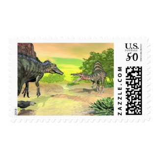 Spinosaurus dinosaurs fight - 3D render Postage