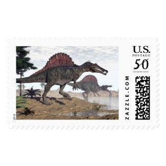 Spinosaurus dinosaurs in desert - 3D render Postage