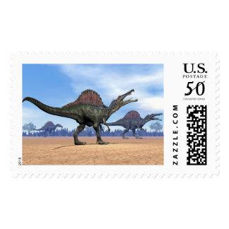 Spinosaurus dinosaurs walk - 3D render Postage