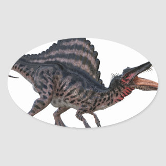 Spinosaurus Squatting and Looking Ferocious Oval Sticker