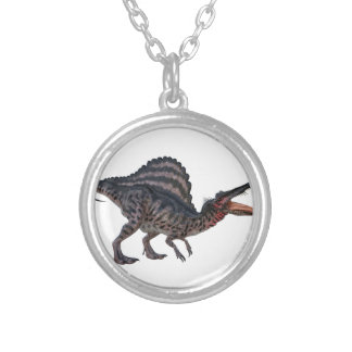 Spinosaurus Squatting and Looking Ferocious Round Pendant Necklace