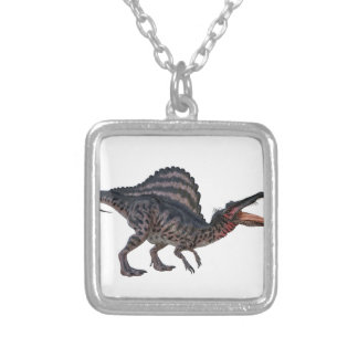 Spinosaurus Squatting and Looking Ferocious Square Pendant Necklace