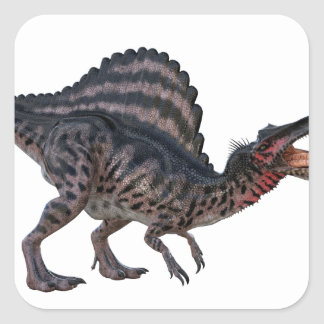 Spinosaurus Squatting and Looking Ferocious Square Sticker