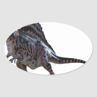 Spinosaurus Squatting and Looking to the Left Oval Sticker