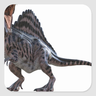 Spinosaurus Squatting and Looking to the Left Square Sticker