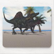spinosaurus, dinosaur, gigantic, carnivorous, herbivorous, reptile, lizard, large, extinct, triassic, cretaceous, extinction, vertebrate, animal, organism, jurassic, fossil, powerful, wondrous, claws, teeth, evolution, prehistoric, paleo, paleontology, dinosauria, world, creature, monster, grand, terrible, Mouse pad com design gráfico personalizado