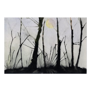 Art Themed Spiny Trees and Full Moon Poster