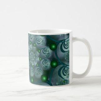 Spiral and Spheres Blue Fractal Coffee Mug