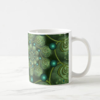 Spiral and Spheres Green Fractal Mugs