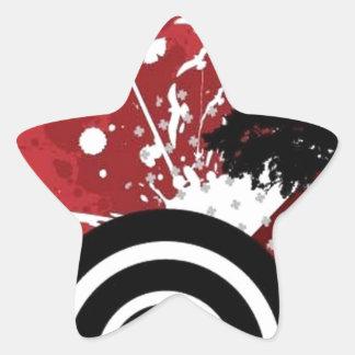 Spiral and splash design star sticker