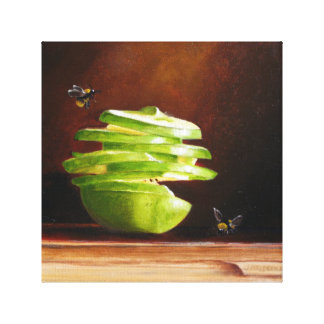 Spiral Apple with Bees Original Art in Oils Canvas Print