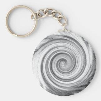 spiral basic round button keychain