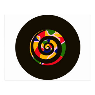 SPIRAL BLACK AND COLORS POSTCARD