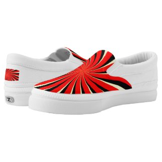 Spiral Black Red Yellow Slip-On Sneakers