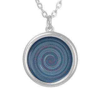 spiral blue - hypnotic round pendant necklace