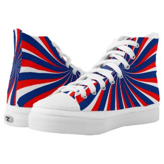 Spiral Blue White Red High-Top Sneakers