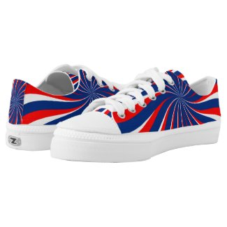 Spiral Blue White Red Low-Top Sneakers