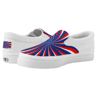 Spiral Blue White Red Slip-On Sneakers